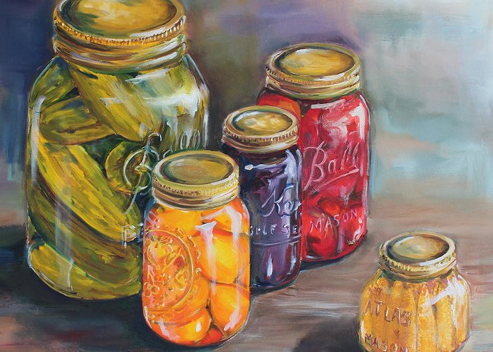 Canning Jars Greeting Card featuring the painting Canning Jars by Kristine Kainer