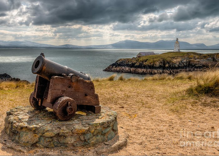Anglesey Greeting Card featuring the photograph Cannon At Llanddwyn by Adrian Evans