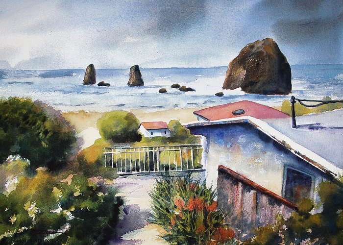 Cannon Beach Greeting Card featuring the painting Cannon Beach Cottage by Marti Green