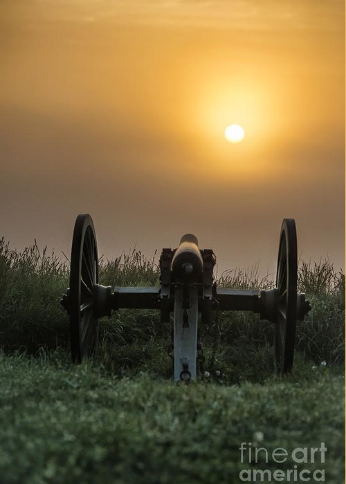 Adams County Greeting Card featuring the photograph Cannon On Cemetery Hill Gettysburg by John Greim