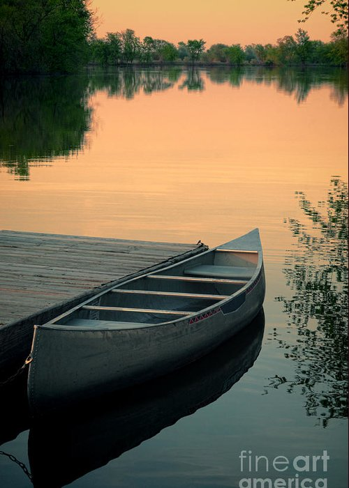 Canoe Greeting Card featuring the photograph Canoe At A Dock At Sunset by Jill Battaglia