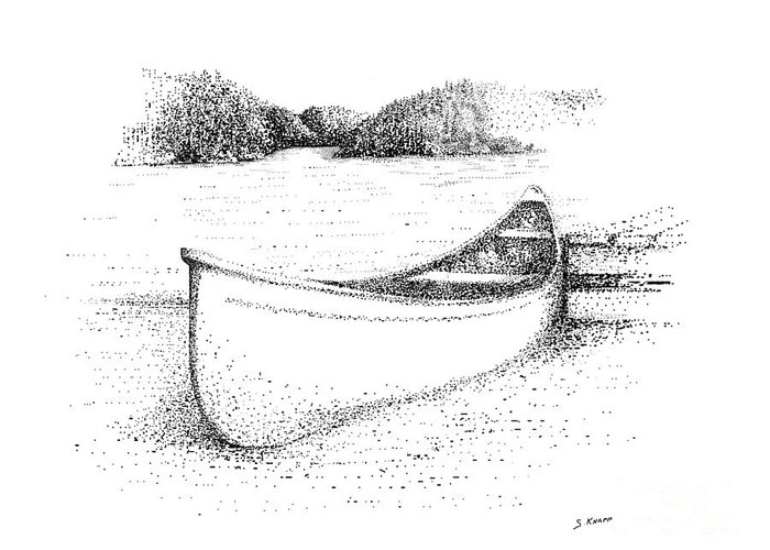 Canoe Greeting Card featuring the drawing Canoe On The Beach by Steve Knapp