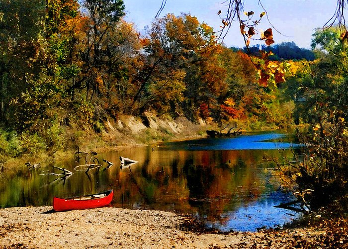 Autumn Greeting Card featuring the photograph Canoe On The Gasconade River by Steve Karol