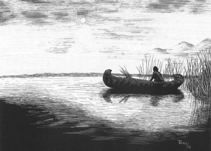 Nature Greeting Card featuring the drawing Canoe Silhouette by Lawrence Tripoli