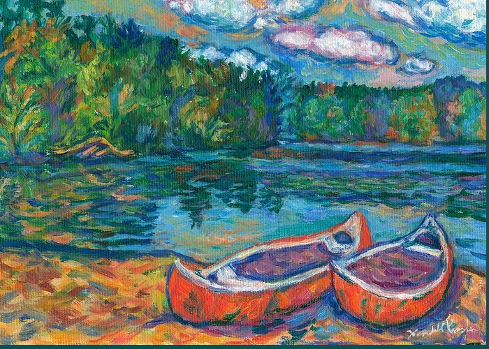 Landscape Greeting Card featuring the painting Canoes At Mountain Lake Sketch by Kendall Kessler