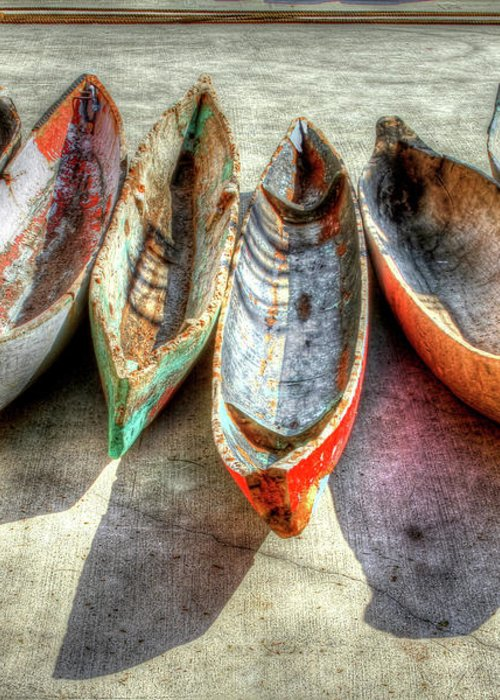 The Greeting Card featuring the photograph Canoes by Debra and Dave Vanderlaan