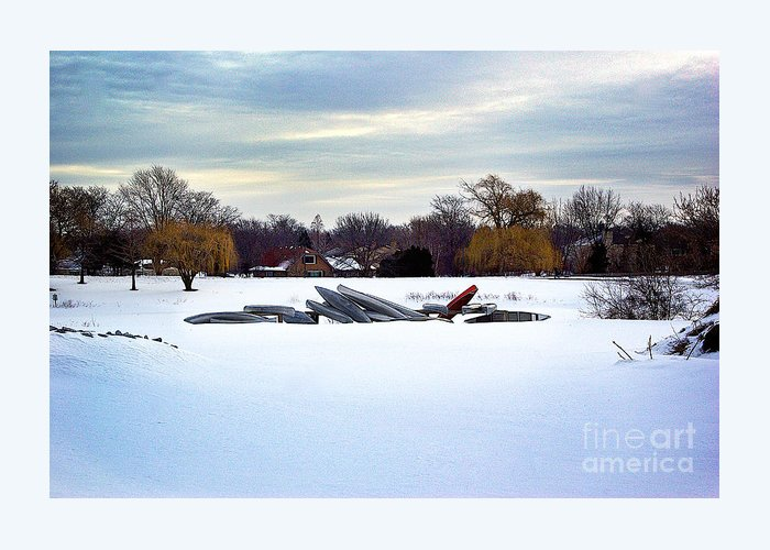 Canoe Greeting Card featuring the photograph Canoes In The Snow by Frank J Casella