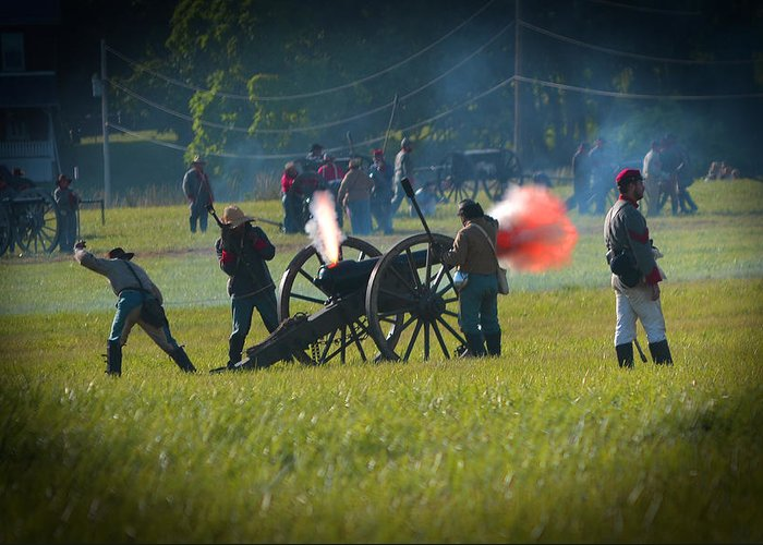 Gettysburg Greeting Card featuring the photograph Canon Fire Reenactment by Scott Shaw