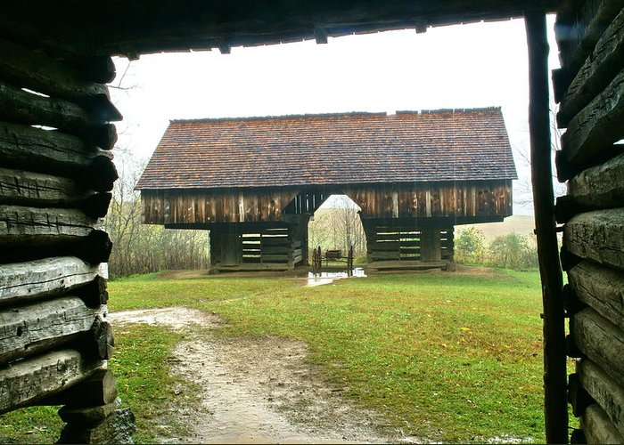 Barn Greeting Card featuring the photograph Cantilever Barn In Smokey Mtn Natl Pk by Bj Hodges