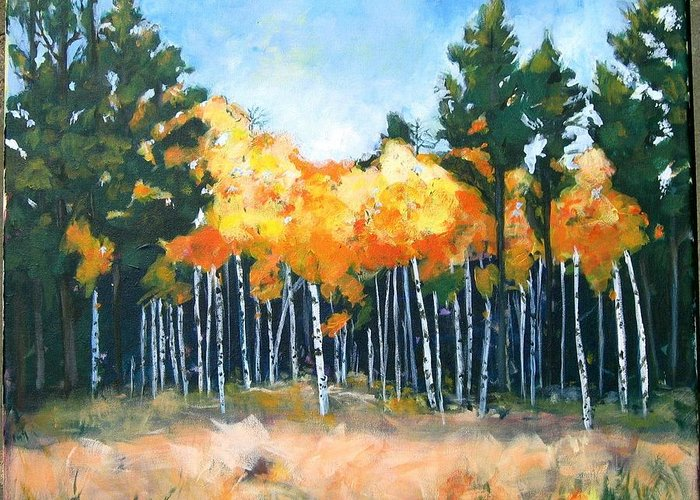 Landscape Greeting Card featuring the painting Canyon Aspens by Dale Ducillo Lewinski