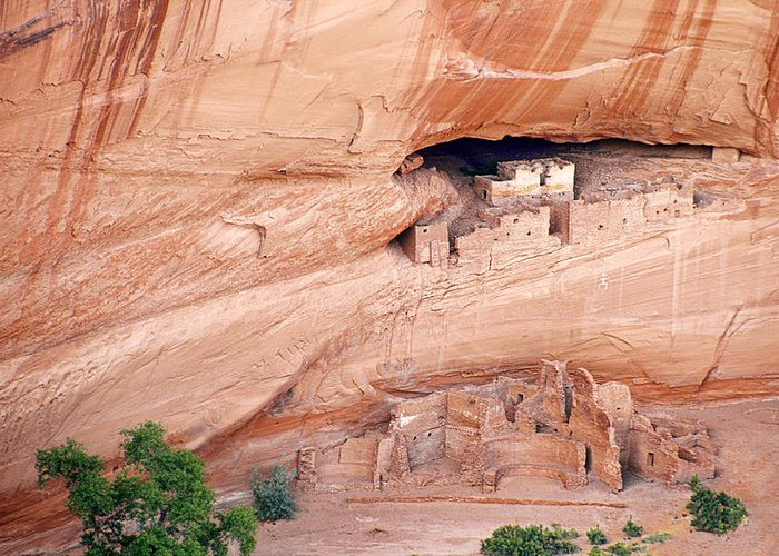 White Greeting Card featuring the photograph Canyon De Chelly White House Ruins by Christine Till