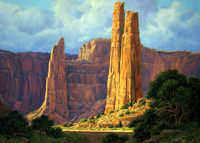 Canyon Greeting Card featuring the painting Canyon Light by Randy Follis