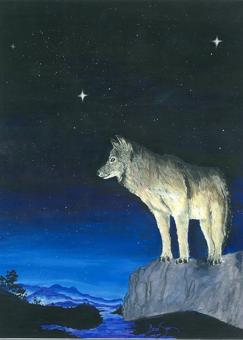 Wolf Greeting Card featuring the painting Canyon Wolf by Brad Simpson