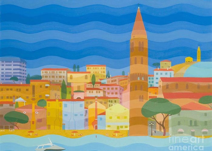 Venezia Greeting Card featuring the painting Caorle by Emil Parrag