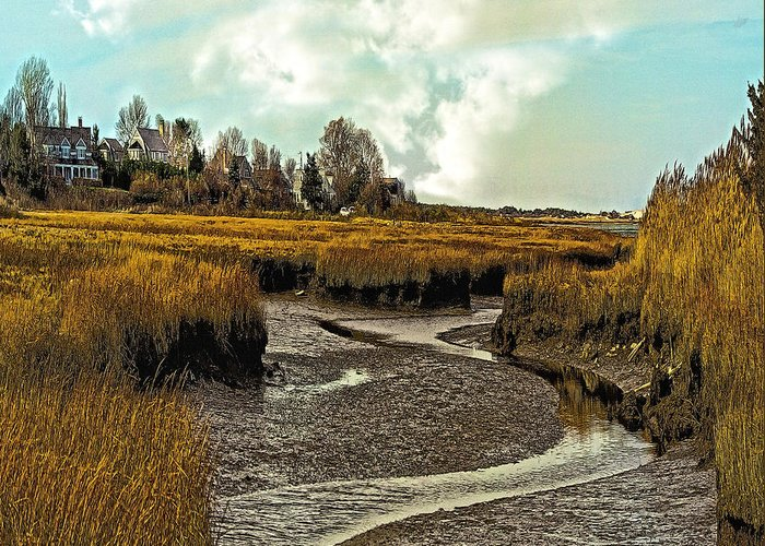 Cape Cod Americana Greeting Card featuring the photograph Cape Cod Americana - Low Tide In A Barnstable Village Marsh - by Constantine Gregory