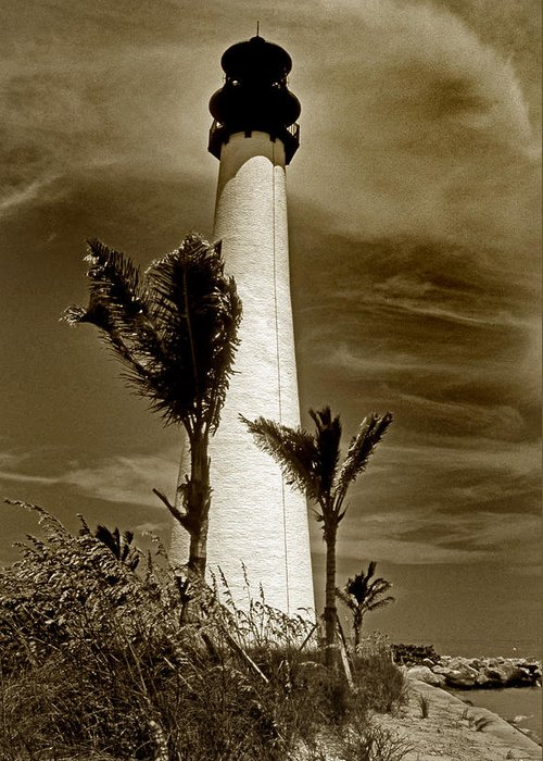 Lighthouse Greeting Card featuring the photograph Cape Florida Lighthouse by Skip Willits