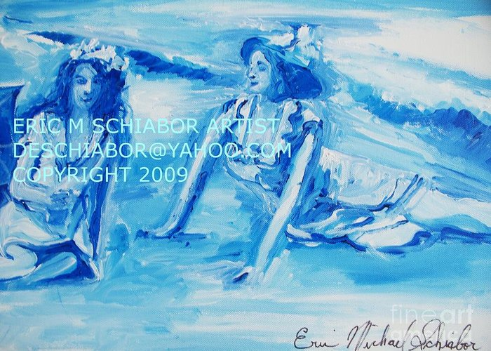 Bathing Greeting Card featuring the painting Cape May Bathing Beauty by Eric Schiabor