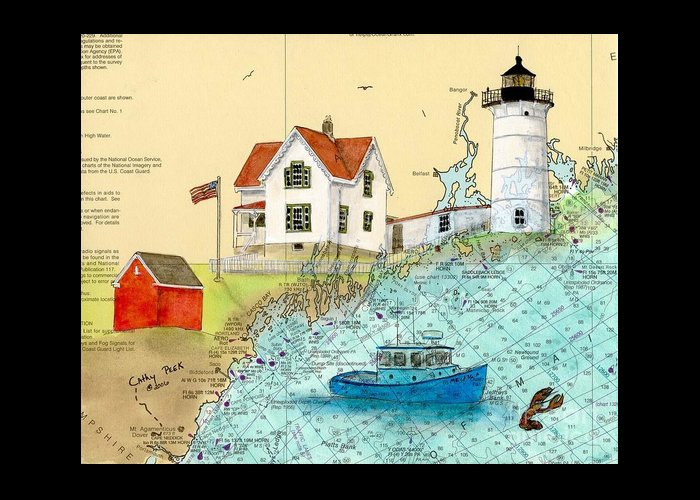 Cape Greeting Card featuring the painting Cape Neddick Lighthouse Me Nautical Chart Map Art Cathy Peek by Cathy Peek