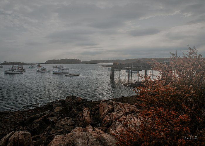 Kennebunk Greeting Card featuring the photograph Cape Porpoise Maine - Fog Rolls In by Bob Orsillo