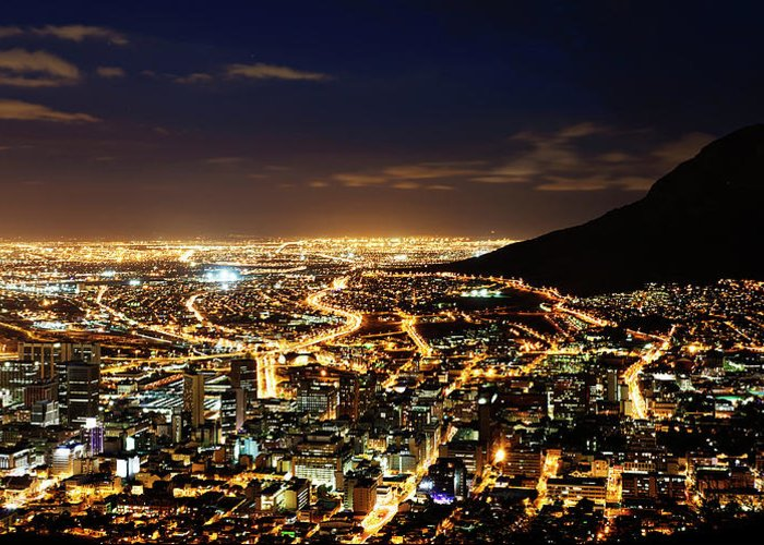Scenics Greeting Card featuring the photograph Cape Town, South Africa By Night by Clicknique