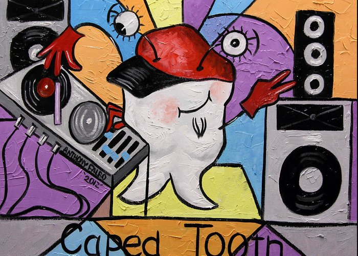 Caped Tooth Greeting Card featuring the painting Caped Tooth by Anthony Falbo