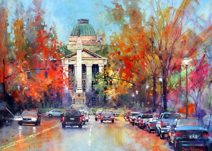 Confederate Monument Paintings Greeting Cards