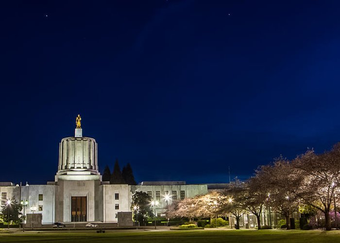 Oregon Capitol Greeting Card featuring the photograph Capitol Twilight by Craig Pifer
