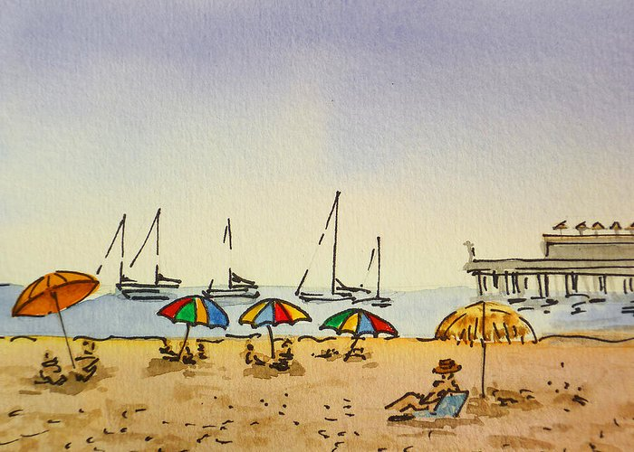 Sketchbook Greeting Card featuring the painting Capitola - California Sketchbook Project by Irina Sztukowski