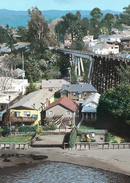 Landscape Greeting Card featuring the painting Capitola Trestle by James Robertson