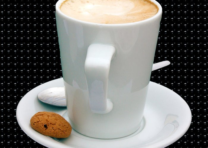Cappucino Greeting Card featuring the photograph Cappuccino With An Amaretti Biscuit by Terri Waters