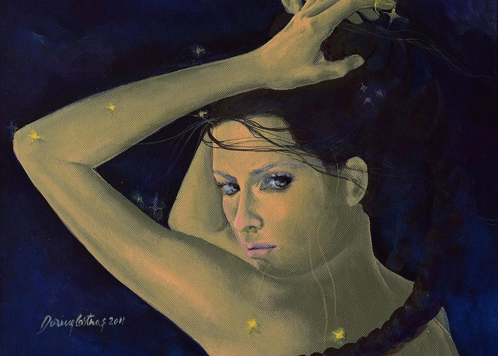 Art Greeting Card featuring the painting Capricorn From Zodiac Series by Dorina Costras
