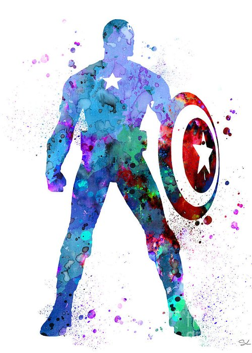 Captain America Paintings Greeting Cards