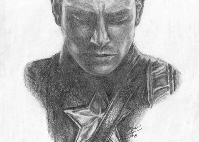 Steve Rogers Greeting Card featuring the drawing Captain America by Christine Jepsen