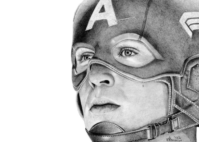 Captain Greeting Card featuring the drawing Captain America by Kayleigh Semeniuk