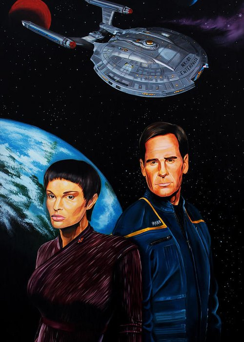 Star Trek Enterprise Greeting Card featuring the painting Captain Archer And T Pol by Robert Steen