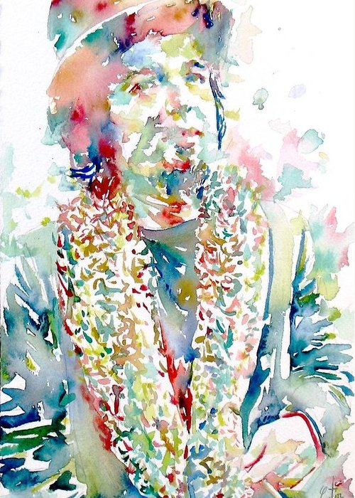 Captain Greeting Card featuring the painting Captain Beefheart Watercolor Portrait.2 by Fabrizio Cassetta