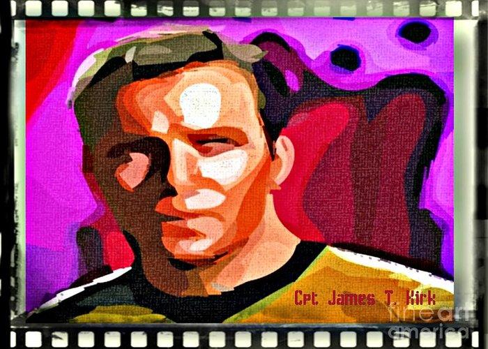 Star Trek Canvas Prints Greeting Card featuring the digital art Captain James T Kirk by John Malone