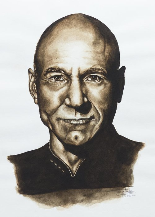 Star Trek Greeting Card featuring the painting captain Jean Luc Picard Star Trek TNG by Giulia Riva