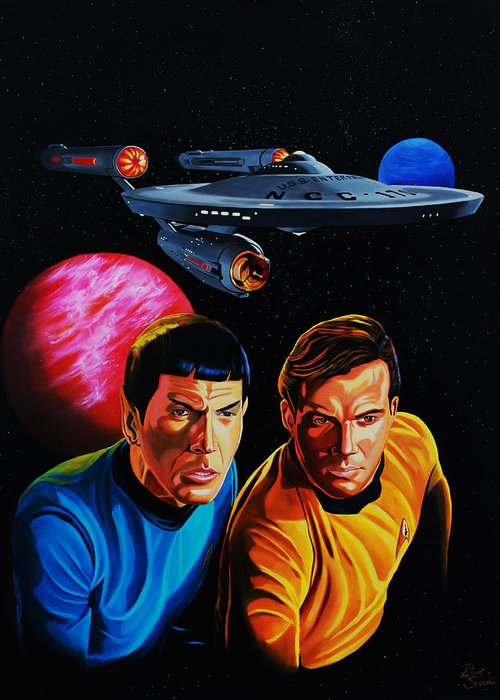 Captain Kirk Greeting Card featuring the painting Captain Kirk And Mr. Spock by Robert Steen
