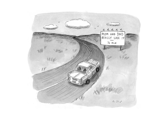 Automobiles -general Greeting Card featuring the drawing Captionless 'mom And Dad Really Lose It - 1/4 by Roz Chast