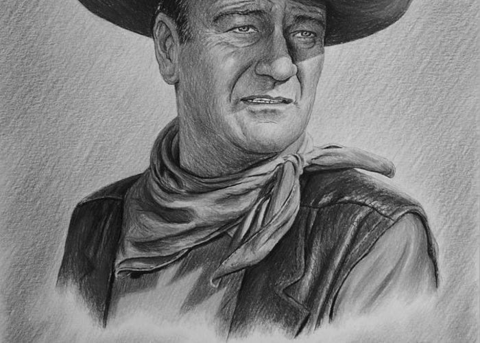 John Wayne Greeting Card featuring the drawing Captured Bw Version by Andrew Read