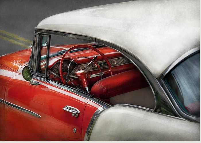 Car Greeting Card featuring the photograph Car - Classic 50's by Mike Savad