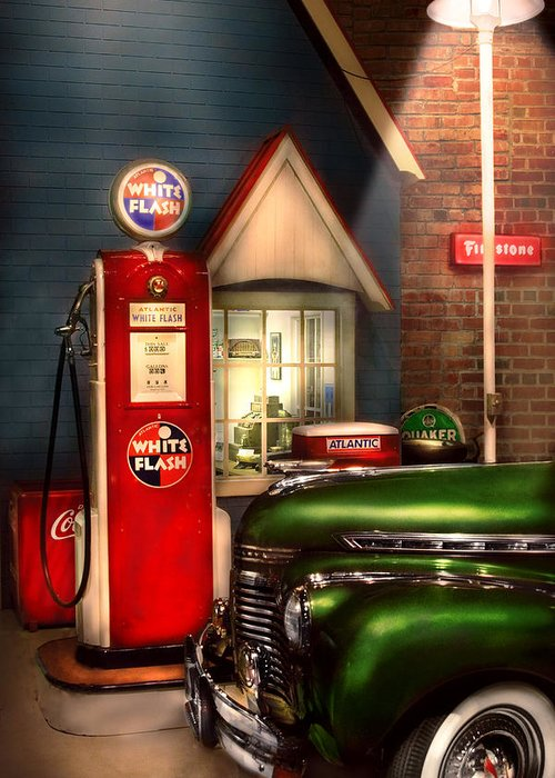 Savad Greeting Card featuring the photograph Car - Station - White Flash Gasoline by Mike Savad