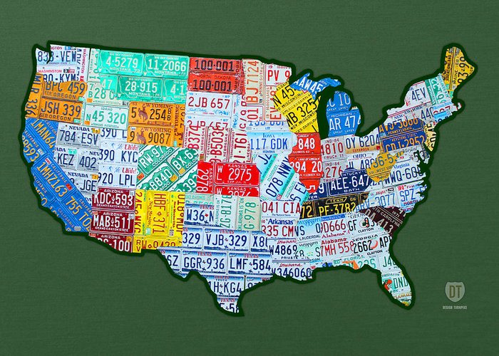 Car Tag Number Plate Art Usa On Green License Plate Map Greeting Card featuring the mixed media Car Tag Number Plate Art Usa On Green by Design Turnpike