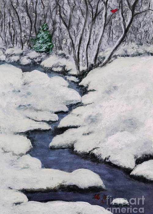 Cardinal Greeting Card featuring the pastel Cardinal Creek by Ginny Neece