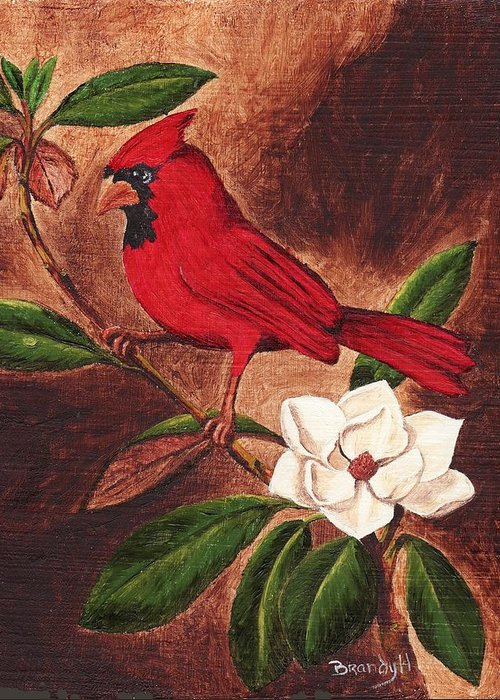 Birds Greeting Card featuring the painting Cardinal II by Brandy House
