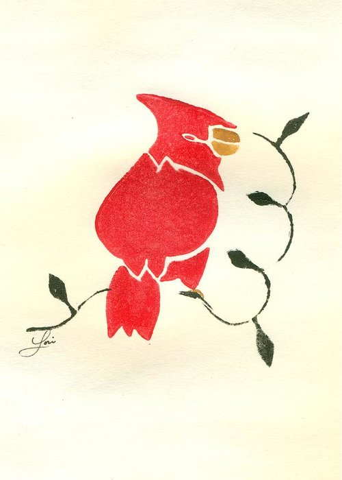 Cardinal Greeting Card featuring the painting Cardinal by Lori Johnson