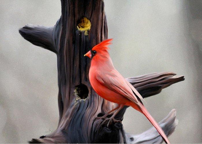 Cardinal Greeting Card featuring the digital art Cardinal by Mary Vandenberg