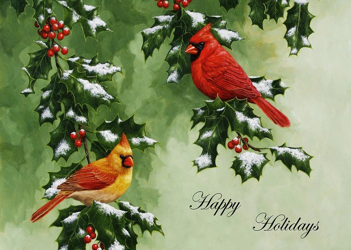 Birds Greeting Card featuring the painting Cardinals Holiday Card - Version With Snow by Crista Forest