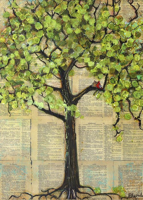 Art Greeting Card featuring the painting Cardinals In A Tree by Blenda Studio